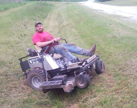 Image result for lawn mower stuck in ditch